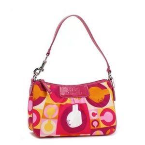 COACH SIGNATURE VDAY OP ART SCARF PRINT POUCH bag